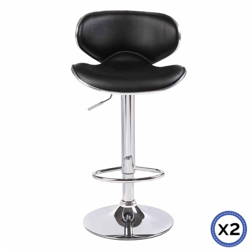 Faux Leather Chrome Base Gas Lift Bar Stool Black Bela
