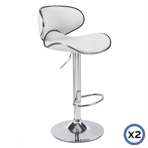 Faux Leather Chrome Base Gas Lift Bar Stool White Bela