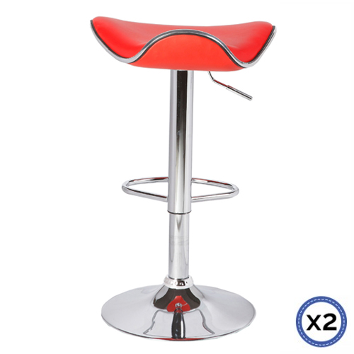 Faux Leather Chrome Base Gas Lift Bar Stool Red Dora