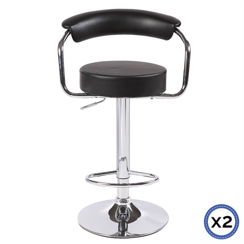 Faux Leather Chrome Base Gas Lift Bar Stool Black Gina