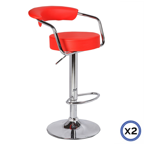Faux Leather Chrome Base Gas Lift Bar Stool Red Gina