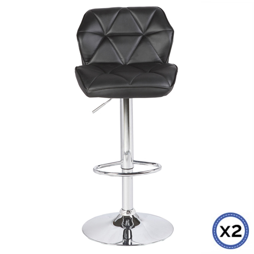 Faux Leather Chrome Base Gas Lift Bar Stool Black Jena