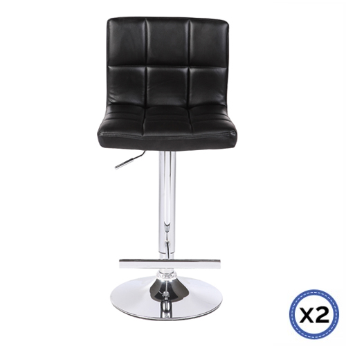 Faux Leather Chrome Base Gas Lift Bar Stool Black Max