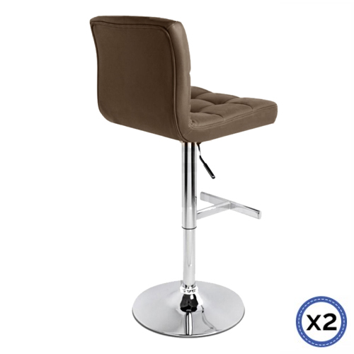 Faux Leather Chrome Base Gas Lift Bar Stool Brown Max