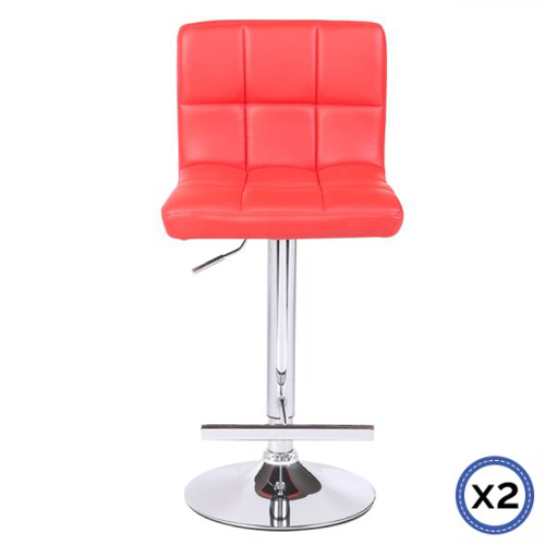Faux Leather Chrome Base Gas Lift Bar Stool Red Max