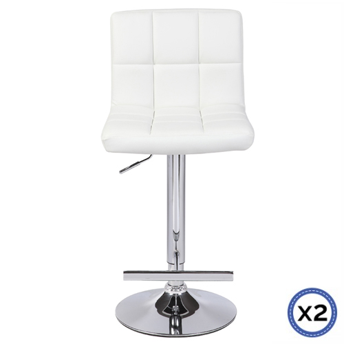 Faux Leather Chrome Base Gas Lift Bar Stool White Max