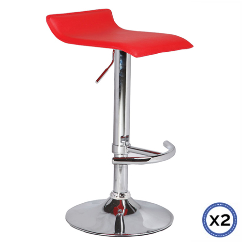 Faux Leather Chrome Base Gas Lift Bar Stool Red Mika