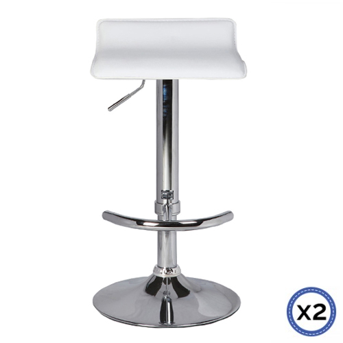 Faux Leather Chrome Base Gas Lift Bar Stool White Mika