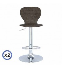 Chrome Base Gas Lift Bar Stool Dark Brown Ratan