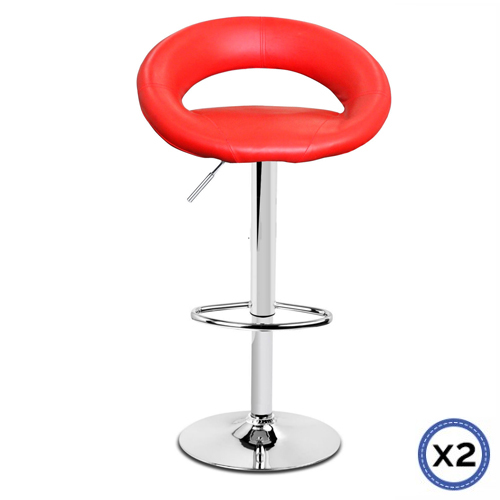 Faux Leather Chrome Base Gas Lift Bar Stool Red Rio