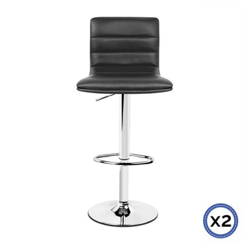 Faux Leather Chrome Base Gas Lift Bar Stool Black Tara