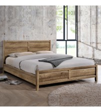 Alice Natural Wood like MDF Bed with Pole Legs