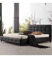 Bravo Leatherette Bed with Tufted Back Rest