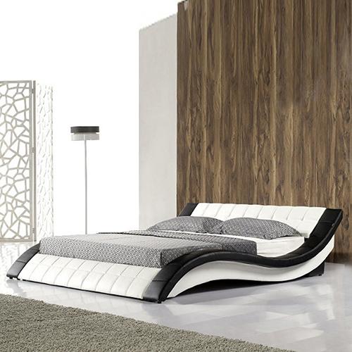 Pride Leatherette Curved King Bed in White and black Finish