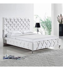 Serena Leatherette Bed with Diamond Tufted Detailing