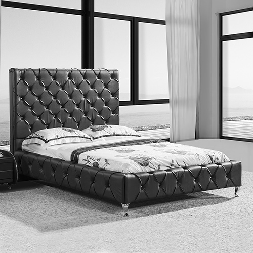 Serena Queen Black PU Leather Bed