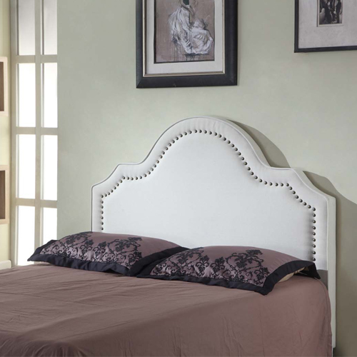 Anne Queen White Fabric Headboard