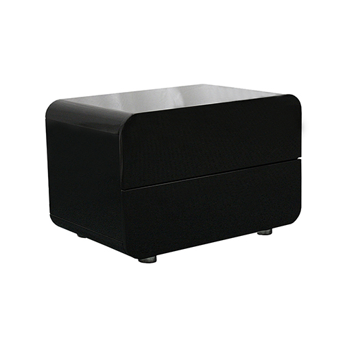 Prado Gloss MDF Black Bedside Table