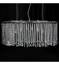 Ceiling Light Oval Chrome Frame Crystal Chain