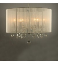 Ceiling Light Glass Crystal Pendant & Metal in White