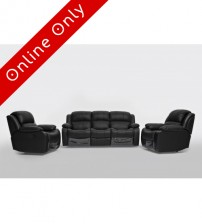 Kacey Black Leather 3+1+1 Recliner Sofa Suite