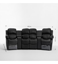 Nikki 4 seater Home Theater Entertainment Lounge Suite with 2 Recliner 1 left arm chair
