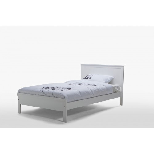 Rojo King Single White Wooden Bed
