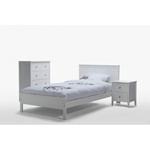 Rojo Single  White Wooden Bed
