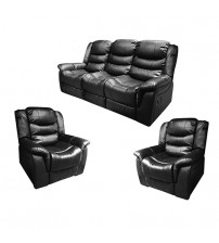 Alan Black Recliner Sofa- 3+1+1 Seater Couch