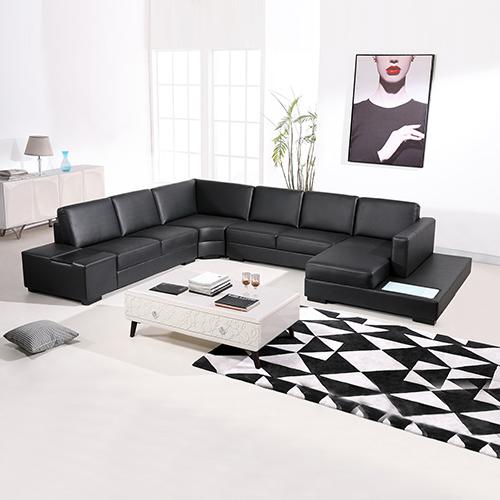 6 Seater Leather Black Sofa Diva