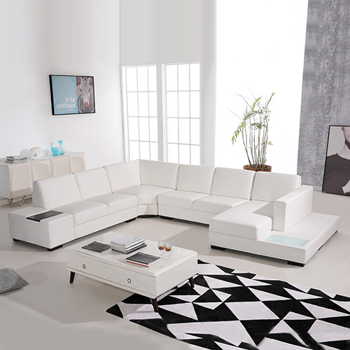 6 Seater Leather White Sofa Diva