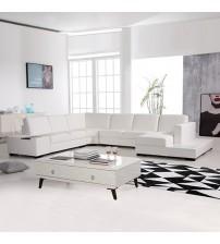 6 Seater Leather White Sofa Diva