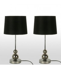 2X Designer Bedside Table Lamps Black Fabric Shade & Metal Base