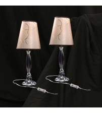 2X Classic Bedside Table Lamp with Fabric Shade & Acrylic Base