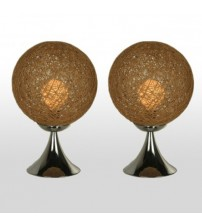2X Stylish Round Bird Nest Bedside Table Lamp With Chrome Base