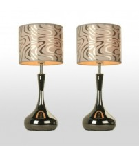 2X Modern White Printed Bedside Table Lamp Shade with Metal Base