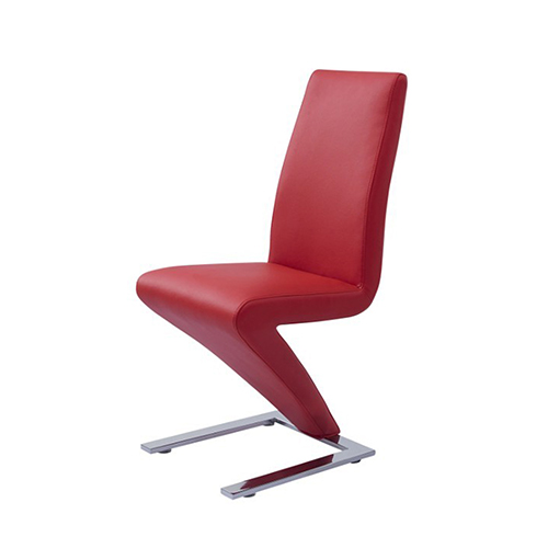 New stylish 2x dining chair faux leather red z shaped for Z shaped dining room chairs