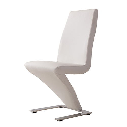 New stylish 2x dining chair white z shaped stainless for Z shaped dining chair