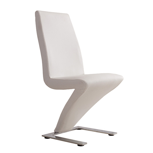 Dining chair white 2x z shaped faux leather stainless for Z shaped dining chair