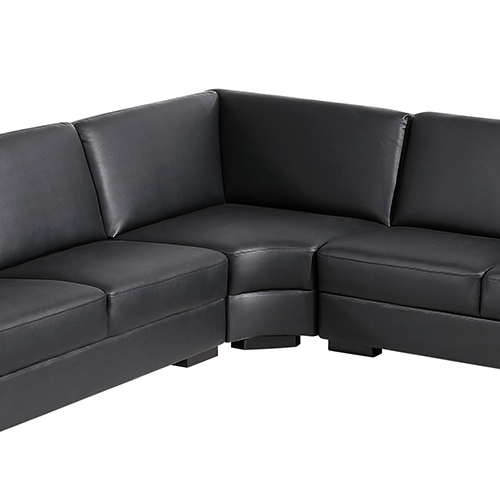 Sofa sectional 6 seater lounge suite bonded black leather for Sectional sofa 6 seater
