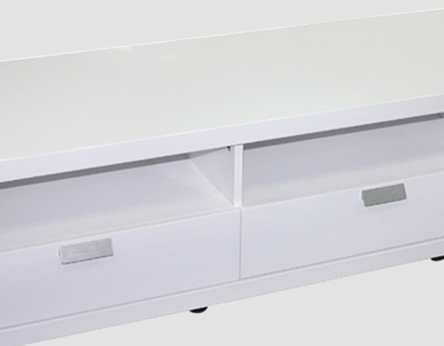 Tv Cabinet White Colour 3 Drawers Mdf High Gloss Finish