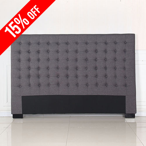 Exclusive Cilantro Fabric King Charcoal Bed Headboard