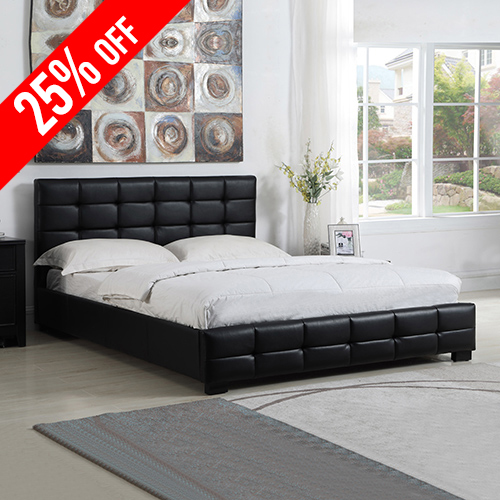 Bondi Leatherette Double Black Bed with Tufted Back Rest