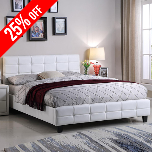 Bondi Leatherette Queen White Bed with Tufted Back Rest
