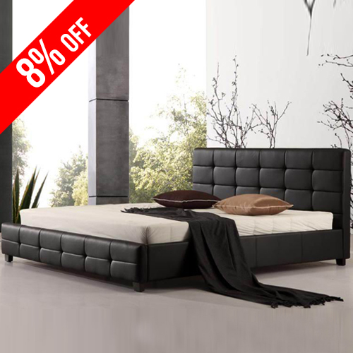 Bravo PU Leather King Black Bed