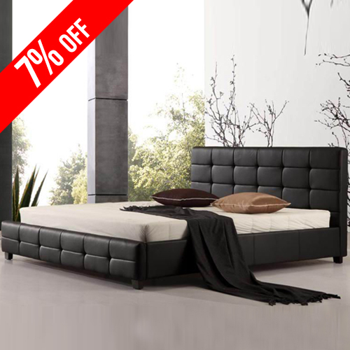 Bravo PU Leather Queen Black Bed