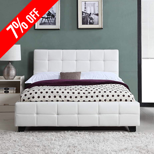Bravo PU Leather Queen White Bed