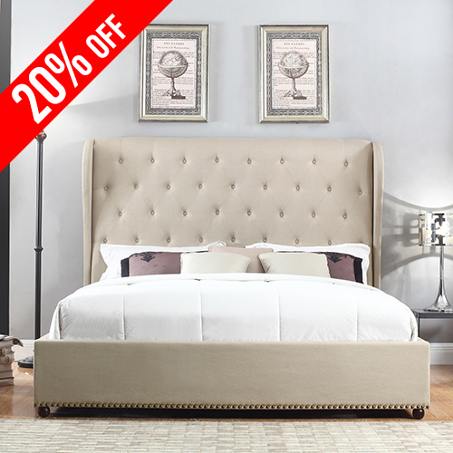Paris Fabric Padded Queen Beige Bed Frame