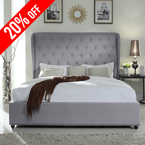 Paris Fabric Padded King Grey Bed Frame