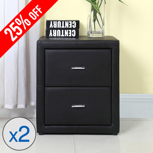 2X Bondi Leather MDF Bedside Table